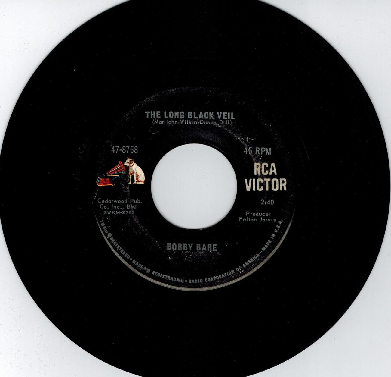 Bobby Bare 45 rpm The Long Black Veil b/w In The Same Old Way