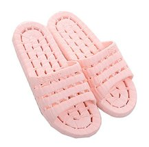 PANDA SUPERSTORE Women Pink Hollow Non-Slip Shower Slippers Household Sandals, U