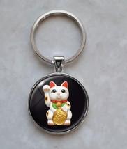 Maneki Neko Cat Kitty Beckoning Cat Luck Charm Japanese Culture Keychain - $14.00+