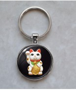 Maneki Neko Cat Kitty Beckoning Cat Luck Charm Japanese Culture Keychain - $14.00+
