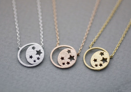 Twinkle Stars and Crescent moon necklace in 3 colors, moon and star neck... - $11.50