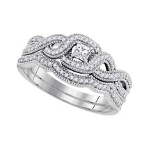 10k White Gold Princess Diamond Bridal Wedding Engagement Ring Band Set 1/3 Cttw - £539.58 GBP