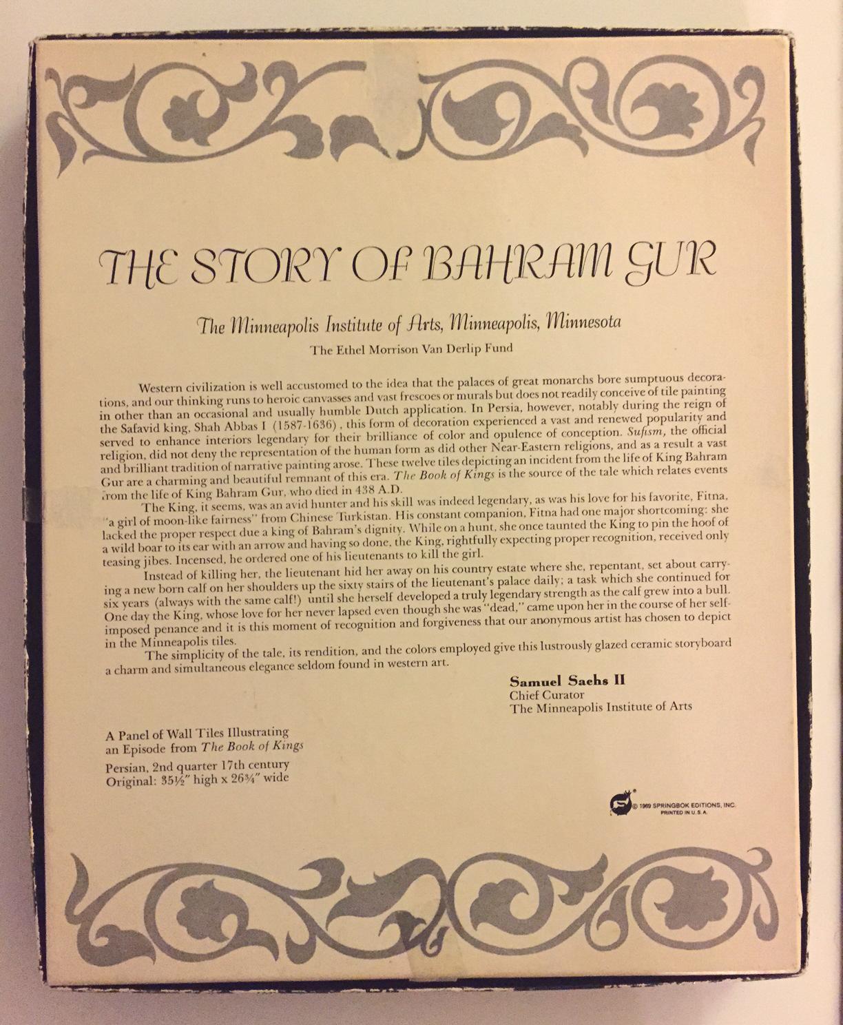 Vintage 1969 Springbok puzzle The Story Of Bahram Gur PZL 4018 over 500 pcs RARE image 5