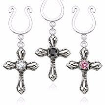 Cross Dangle with Small CZ Clip On Nipple WildKlass Ring (Sold as Pair) - $18.80