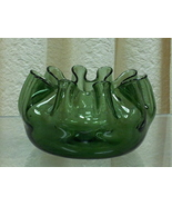 Vintage Blenko Ruffled Green Glass Bowl/Flower Vase - $35.00