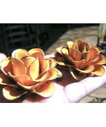 TWO Large metal Roses flowers for embellishments and accents, Yellow - $19.77