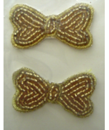 Vintage Gold Bows Sequin Applique Sew-On Sequin... - $5.99