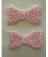Vintage Pink Bows Sequin Applique Sew-On Sequined Patch Set  NIP  - $8.99