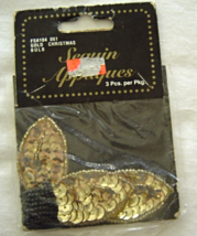 Vintage Gold Christmas Bulbs Sequin Applique Sew-On Sequined Patch Set  ... - $8.99