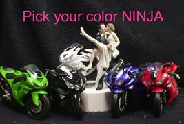 NINJA Kawasaki Motorcycle Bike Wedding Cake Topper Funny sexy PICK COLOR Racing - $71.88