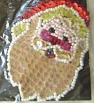 Vintage Santa Clause Sequin Applique Sew-On Sequined Patch NIP  - $8.99