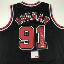 Autographed/Signed DENNIS RODMAN Chicago Black Basketball Jersey PSA/DNA... - €85,01 EUR