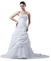 Albizia Tiered Beading Ruched Court Train Mermaid Wedding Dress 22 , White - $180.00