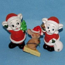 Vtg LOT 3 Pc MICE Flocked Mouse Mid Century 2 Ceramic Figures 1 Plastic ... - $20.00