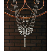"""Vintage Style Crystal Tassel 16"""" Necklace and Pierced Earrings Jewelry Set - $14.51"""