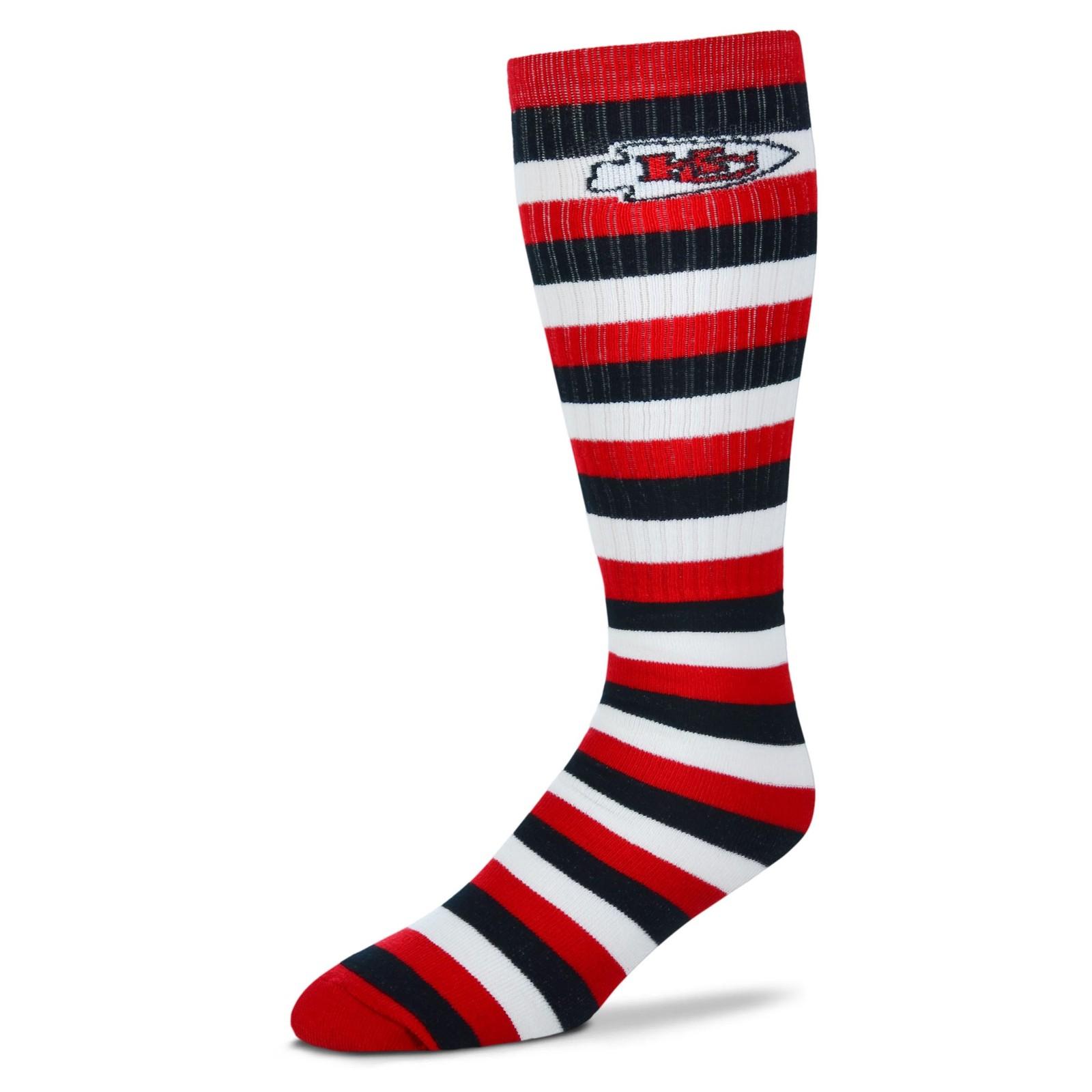 NFL Kansas City Chiefs Striped Knee High Hi Tube Socks One Size Fits Most Adults