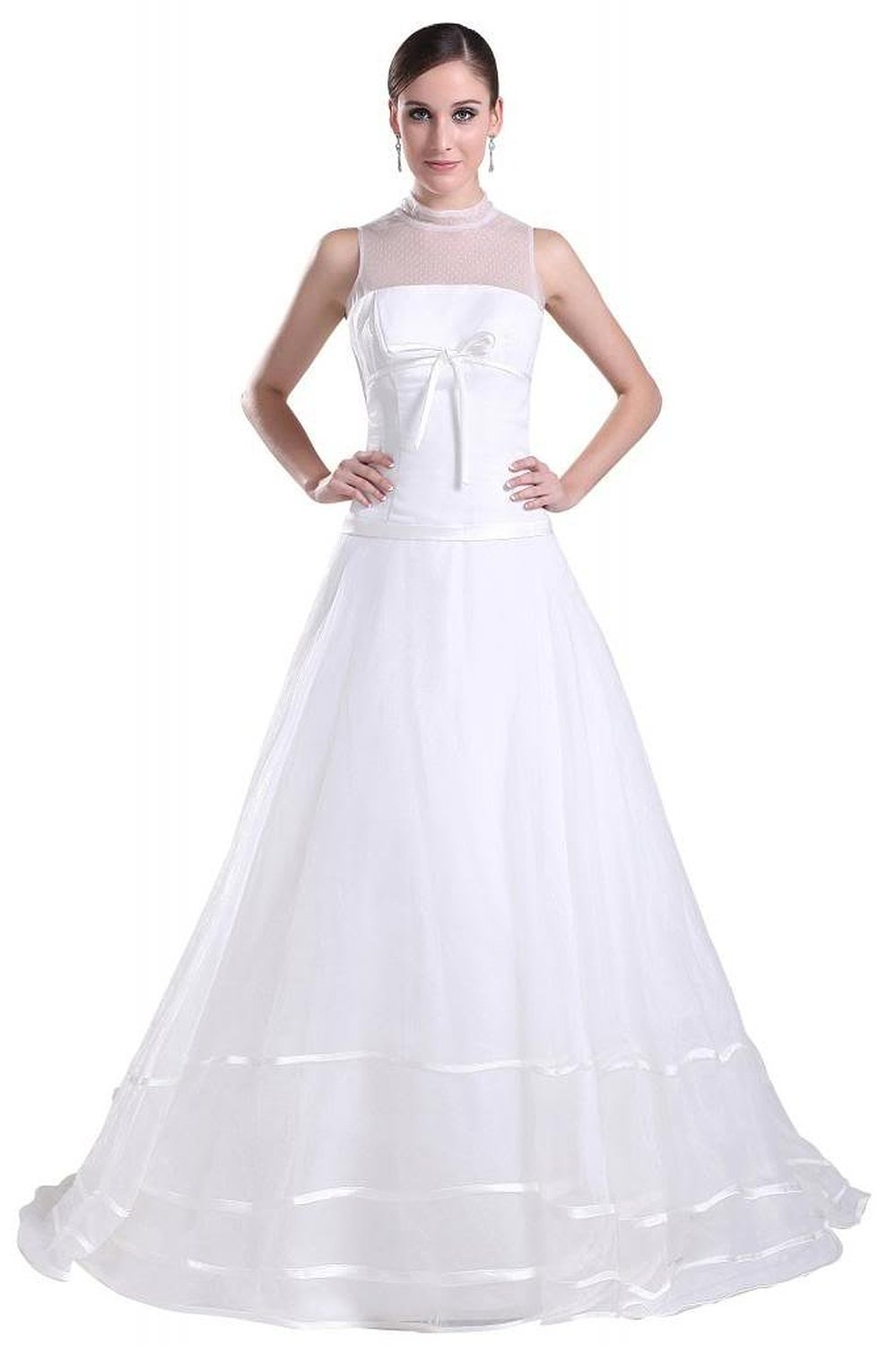 Simple Wedding Dress High Neck : Albizia new simple high neck strapless sweep train wedding