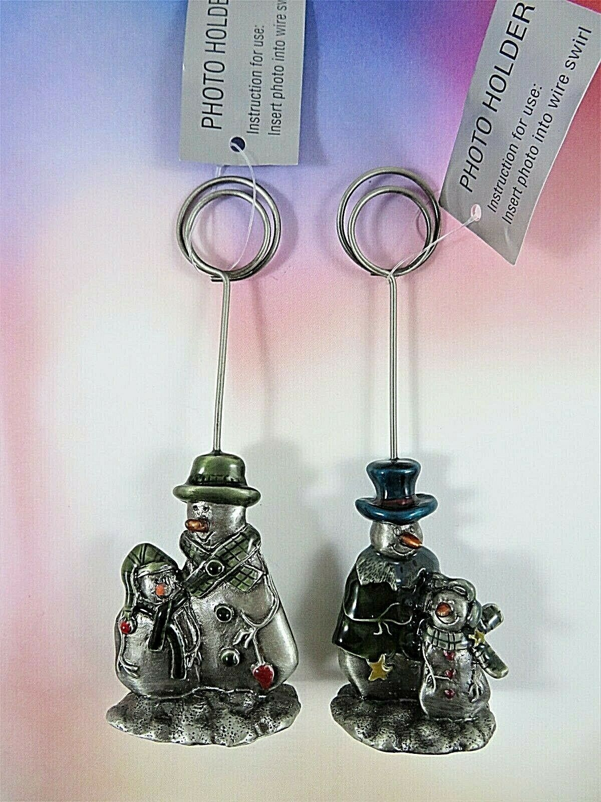 Pair Pewter Snowman Theme Christmas Card/Photo/Placecard Holders New With Tags - $21.77
