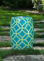 Ceramic Garden Stool Moroccan Furniture Teal Blue Green Indoor Outdoor,2... - $143.55