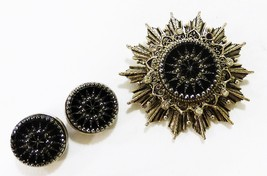 Onyx and silver star shape brooch pin pendant and round earring set vintage - $28.70