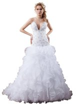 Albizia A-line Sweetheart Chapel Tiered Beaded Wedding Dress 22 , Ivory - $198.00