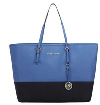 MICHAEL Michael Kors Jet Set Travel Medium Color-Block Leather Tote, Her... - $294.01