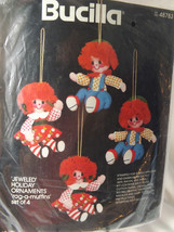 Bucilla Jeweled Holiday Christmas Ornaments Rag-A-Muffin Set of 4 Kit New 48783 - $16.86