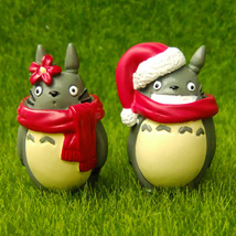 2pcs Xmas Totoro Red Hat Miniature Toy Fairy Garden Terrarium Cartoon Fi... - $9.99