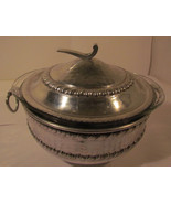 Vintage Clear Pyrex Bowl with Silver Colored Metal Hammered  - $66.40