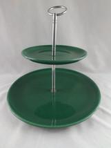 Vintage Metlox  Modern Poppytrail Tibit  Dessert Tray 2-Tier Green MCM - $22.99