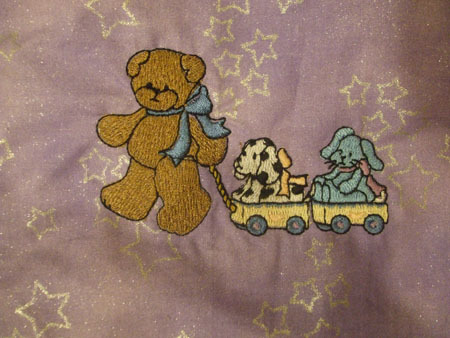 Purple/Pink teddy bear baby quilt IN STOCK