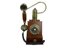 Vintage Wooden Wall Phone Cradle Telephone Handsfree Redial Mahogany Cla... - $118.99