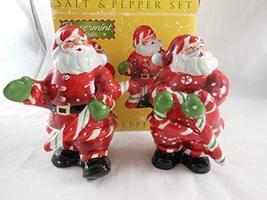 "Peppermint Santa Hand Painted Ceramic Salt and Pepper Shaker set 5"" tall - $17.81"