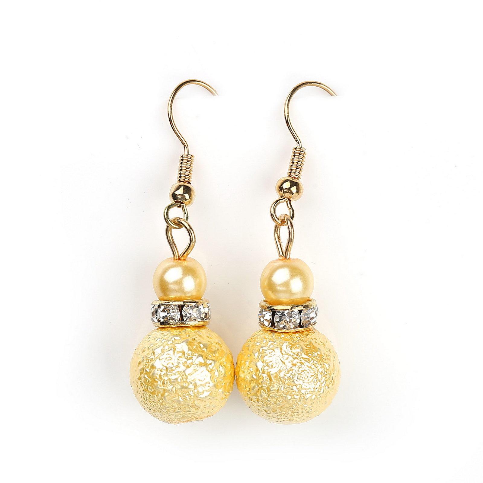 UNITED ELEGANCE Gold Faux Pearl & Crystal Set, Necklace, Earrings & Bracelet