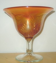 Fenton Peacock & Urn Marigold Carnival Glass Compote Vintage Footed Bowl - $49.99