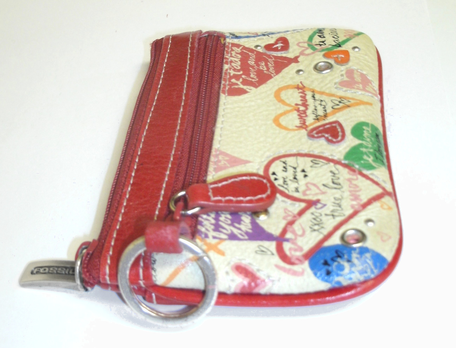 Fossil Mini ID Wallet Coin Purse Red Leather Heart Love Keychain image 5