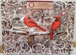 "SET OF 4 VINYL PLACEMATS W/ CORK BACK(12""x16"") 2 CARDINAL BIRDS IN THE W... - $19.79"