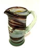 Art Glass Green Pitcher Creamer Hand Blown Brown White Swirls Small 4 in... - $25.74