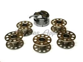 5 Metal Bobbins & Bobbin Case 6Pc Set for Simplicity Sewing Machine SA2200 S07 - $14.36
