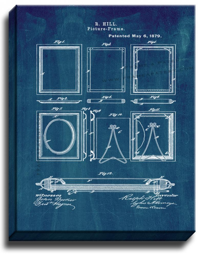 Primary image for Picture-Frames Patent Print Midnight Blue on Canvas