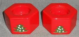 Waechtersbach CHRISTMAS TREE PATTERN Set (2) TEA LIGHT Candleholders - $23.75
