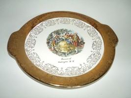 Washington D.C.Souvenir Gold Serving/Handles Plate Portrait George & Mar... - $64.34
