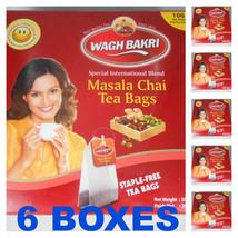 6 PACK ! Wagh Bakri WAGHBAKRI Masala Chai 100 Tea Bags Net Wt: 200gm USA... - $48.00