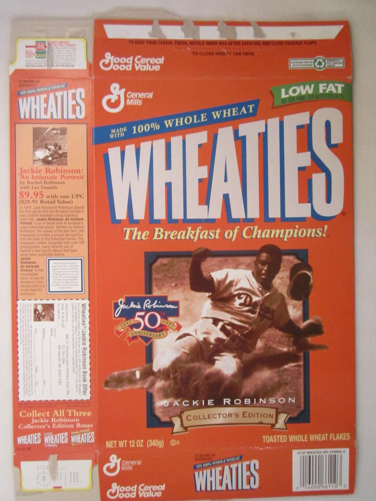 Empty WHEATIES Box 1997 12oz JACKIE ROBINSON Collectors Edition [Z202g3] - $4.78