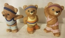 3 Homco Home Interiors Exercise Aerobic Bear Figurines #1448 Free Shipping - $9.49