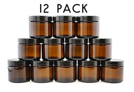 2-Ounce Amber Glass Straight Sided Jars 12-Pack; Great Containers for Co... - $17.35