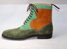 Handmade Men's Multi Colors Suede Two Tone High Ankle Lace Up Boots image 1