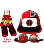 Marvel Deadpool Adjustable Adult Strapback Hat Cap & 1 Pair TeeTurtle So... - $28.66