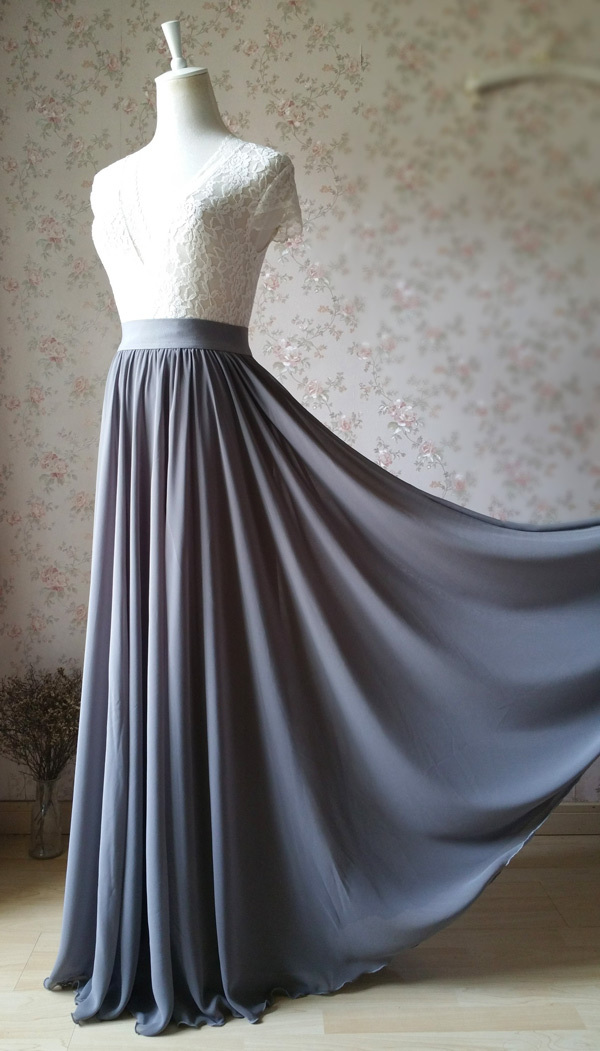 GRAY Wedding Skirt and Top Set Plus Size Two Piece Bridesmaid Skirt and Top