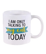 Novelty Pet Cat-Themed Stoneware Coffee Mug 14 oz Only Talking to My Cat... - $8.99